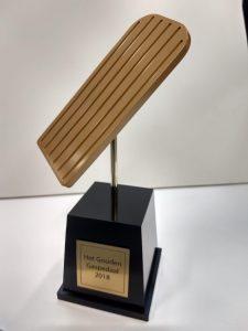 award met lasergravure van tekst