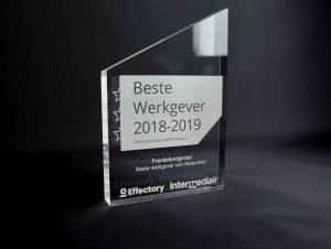 Perspex award met gravure glaslook trofee